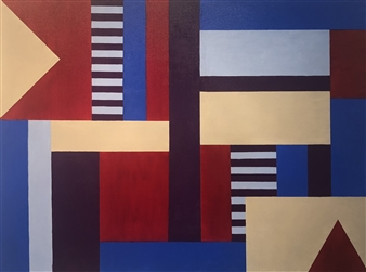 Roberta Caviglia - Playful Geometry #2 Acrylic on Canvas, Paintings