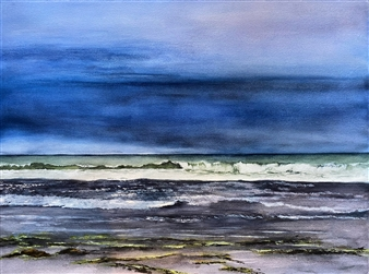 Nancy Holleran - Pending Storm Rio Del Mar Watercolor on Paper, Paintings