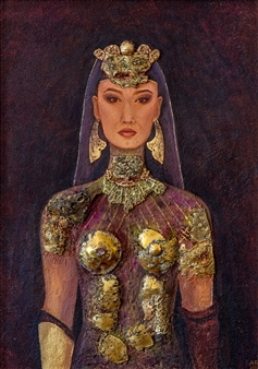 Aigerim Bektayeva - Patshayym (Queen) Oil on Canvas, Paintings