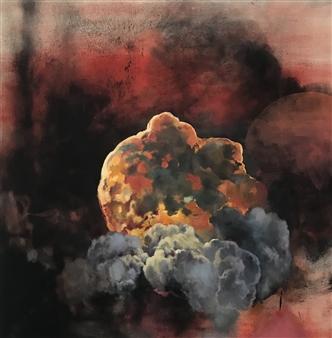 Rachel Sager - Loadstar Oil & Charcoal on Canvas, Mixed Media