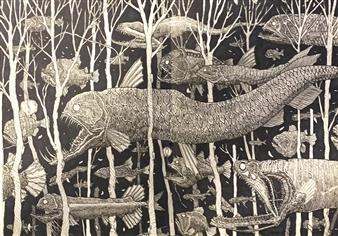 Michael Shelef - Night Swarm Black Ink Pen on Sketchbook Page, Drawings