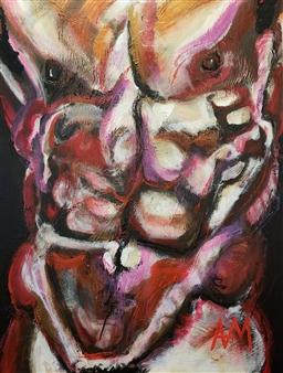 Ashley Morgan - Torso on Deep Purple Acrylic on Canvas, Paintings