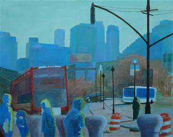 Martin Randall Joyce - Bus Stop Acrylic on Canvas, Paintings