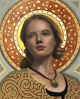 John Britton - Abigail with Halo Oil on Canvas, Paintings