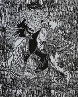 Maria Antonia Mena Lagos - Fighting Cocks Dry-Point on Cotton Paper, Prints