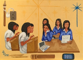 Ragaa Mansour - Girls School Oil on Canvas, Paintings