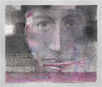 Michael Fridman - Face-to face with a Mirror Pen on Paper, Drawings