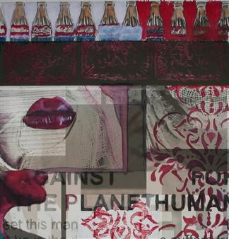 Roberto Riccio - Againt Planet Human Acrylic & Mixed Media on Paper, Mixed Media