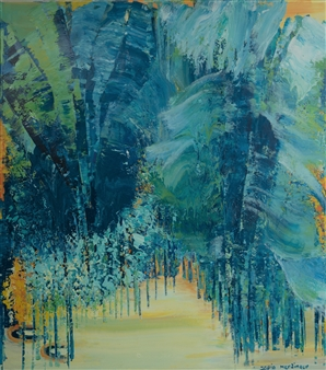 Zvia Merdinger - Blue Jungle Mixed Media on Canvas, Mixed Media