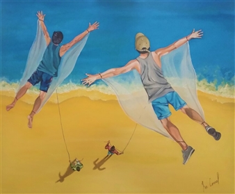 Francisco Coronel Gándara - PAPALOTE (Just as many people fly aimlessly, they stay until the wind stops or they let go of you) Oil on Canvas, Paintings