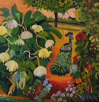 Mira Seeman - In My Garden Oil on Canvas, Paintings
