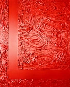 Natalia Gaviria - Red Lava Gesso, Acrylic & Spray Paint on Canvas, Paintings