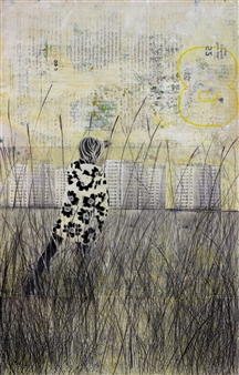 db Waterman - Yellow Pasture Acrylic & Collage on Paper, Mixed Media