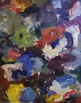 Susan Marx - Flower Bed Acrylic on Canvas, Paintings