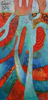 Helen E. Becker - On the Horizon Acrylic & Collage on Canvas, Mixed Media