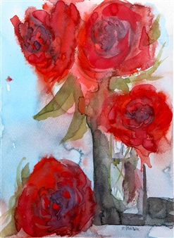Rine Philbin - Red Roses Watercolor on Paper, Paintings