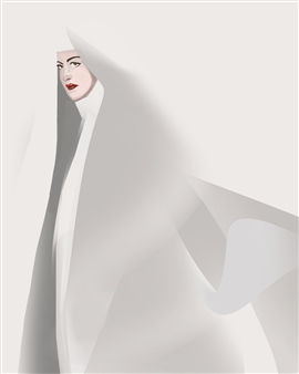 Christo Anto Francis - The Nun Digital Painting on Canvas, Digital Art