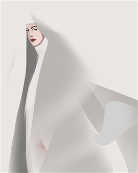 Christo Anto Francis - The Nun Digital Painting on Canvas, Digital Art