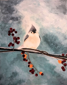 Chadwick Arcinue - A Snowy Perch Acrylic on Canvas, Paintings
