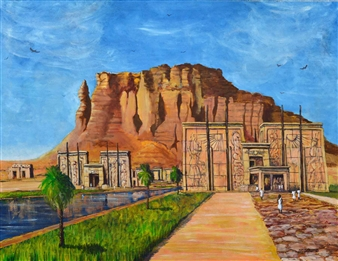 Ashraf Elsharif - Temple at Barkal Acrylic & Oil on Canvas, Paintings