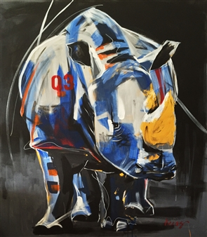 Viccas - W Rhino Acrylic on Canvas, Paintings