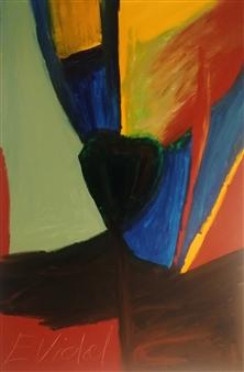 Eduardo Vidal - Green-Diamond Acrylic & Beads on Canvas, Paintings