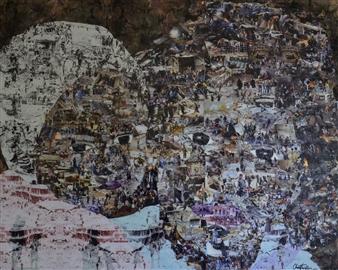 Chad Thompson - Portrait of Gaza I Acrylic & Collage on Canvas, Mixed Media