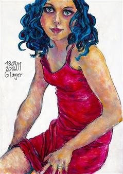 Gunter Langer - Red Dress Acrylic on Paper, Paintings