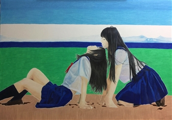Atsushi Imai - Line of Love and Love Colored Pencil on Paper, Drawings