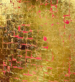 Catherine Timotei - Egoli on Pink 24K Gold Leaves and Oil on Belgian Linen Canvas, Mixed Media