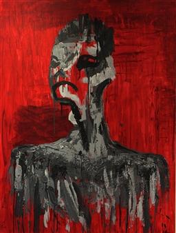 Ethan Lam - Inner Turmoil Encaustic & Oil on Canvas, Paintings