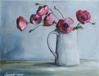 Elizabeth Sabine - Poppies Acrylic on Canvas, Paintings