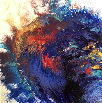 Tina Louise Lambert - Obscene Azure Acrylic with Gloss Varnish, Mixed Media