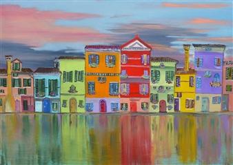 Riccardo Bartoli - Tramonto Su Burano (Sunset Over Burano) Oil on Canvas, Paintings