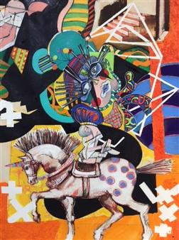 Michael Dolen - Circus Figure 873Q Mixed Media on Paper, Mixed Media