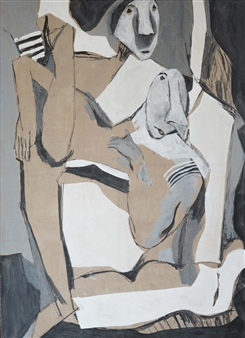Khac Cuong Le - Two Woman 2 Oil and Gouache on Canvas, Paintings
