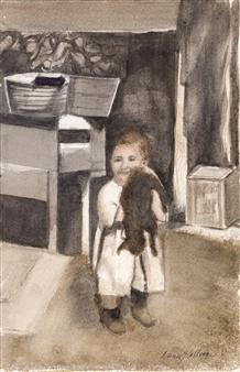 Nancy Holleran - 1920 Boy and His Cat Watercolor on Paper, Paintings