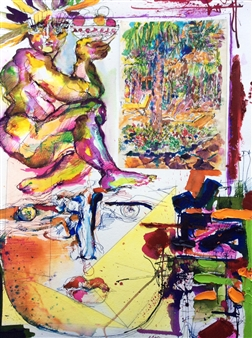 Michael Dolen - Afternoon in Guadeloupe Mixed Media on Paper, Mixed Media