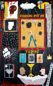 Fernando Magdaleno - Running Out of Time Acrylic, oilstick on Canvas, Mixed Media