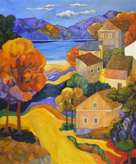 Stefano Puleo - Mediterranean Landscape Oil on Linen, Paintings