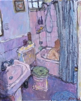 Jenny Ahmad - Blue Curtain and Mauve Bathroom Oil on Canvas, Paintings