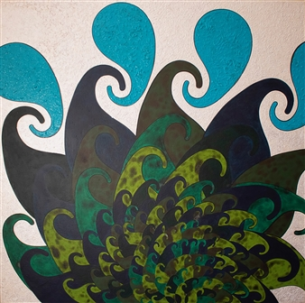 Sheetal Shaw - Frolicking Foliage Acrylic on Linen Canvas, Paintings