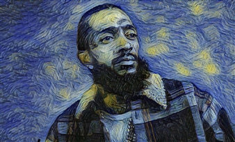 Monel Aliote - Long Live Nipsey The Great Acrylic & Oil on Canvas, Paintings