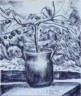 Oleg Kirnos - Mountain Flower Pen on Paper, Drawings