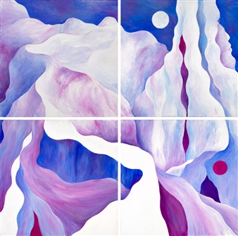 Jerry Anderson - Cappadocia 9-12 (composition of 4 paintings) Acrylic on Canvas, Paintings
