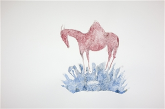 Kate Walters - Mare with Mountain Breast and Sea-Crown of Lapis Watercolor on Paper, Paintings