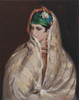 Corinne Garese - Mauresque Au Turban Émeraude Oil on Canvas, Paintings