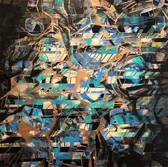 Maggie G. Moran - Right Brain Mixed Media on Canvas, Mixed Media