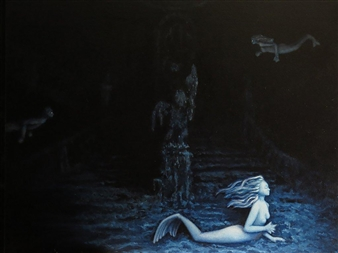 Juan M. Baraya G. - Mar Profundo - Deep Sea 13 - Titanic 8 Oil on Canvas, Paintings