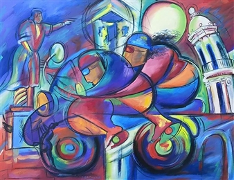 Miguel de la Cruz - Descubrimiento y Diversión Oil on Canvas, Paintings
